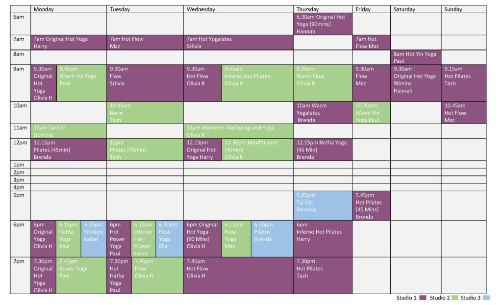 Timetable Ironstone Wellbeing Centre
